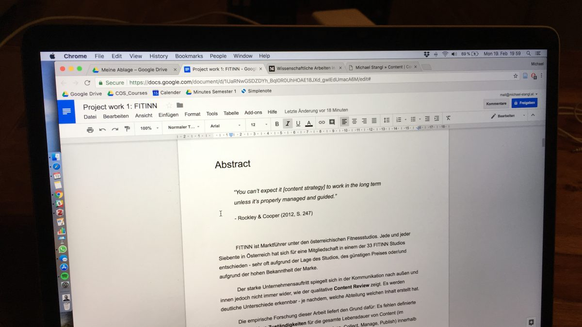 Semesterarbeit in Google Docs