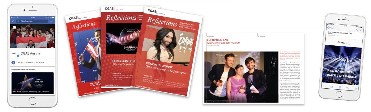 Beispiele für OGAE Austria-Kanäle: Facebook, Clubmagazin, Newsletter